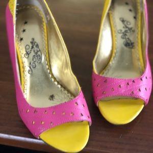 Naughty monkey yellow & pink heels.